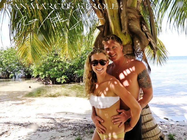 650 Hatchet Caye Bride and Groom posing Chabil Mar Belize Resort