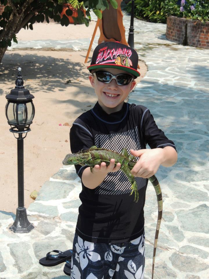 Heyer Boy with Iquana Chabil Mar Belize Resort