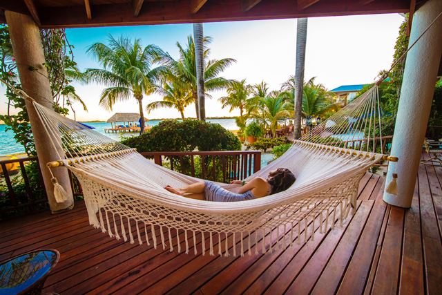 Veranda Hammock to Caribbean Chabil Mar Resort Belize