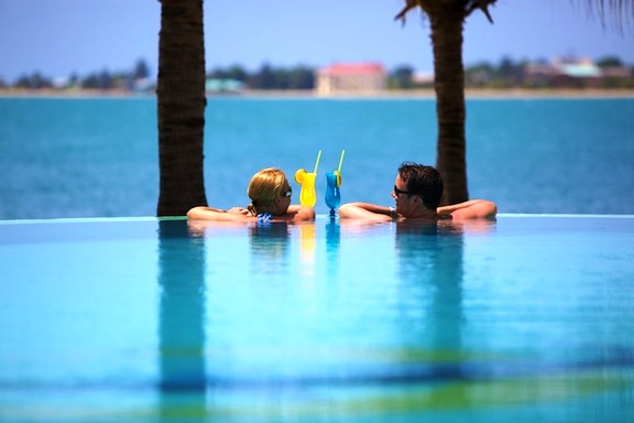 Chabil Mar Belize Resort Couple 650 at Infinity Pool Drinks
