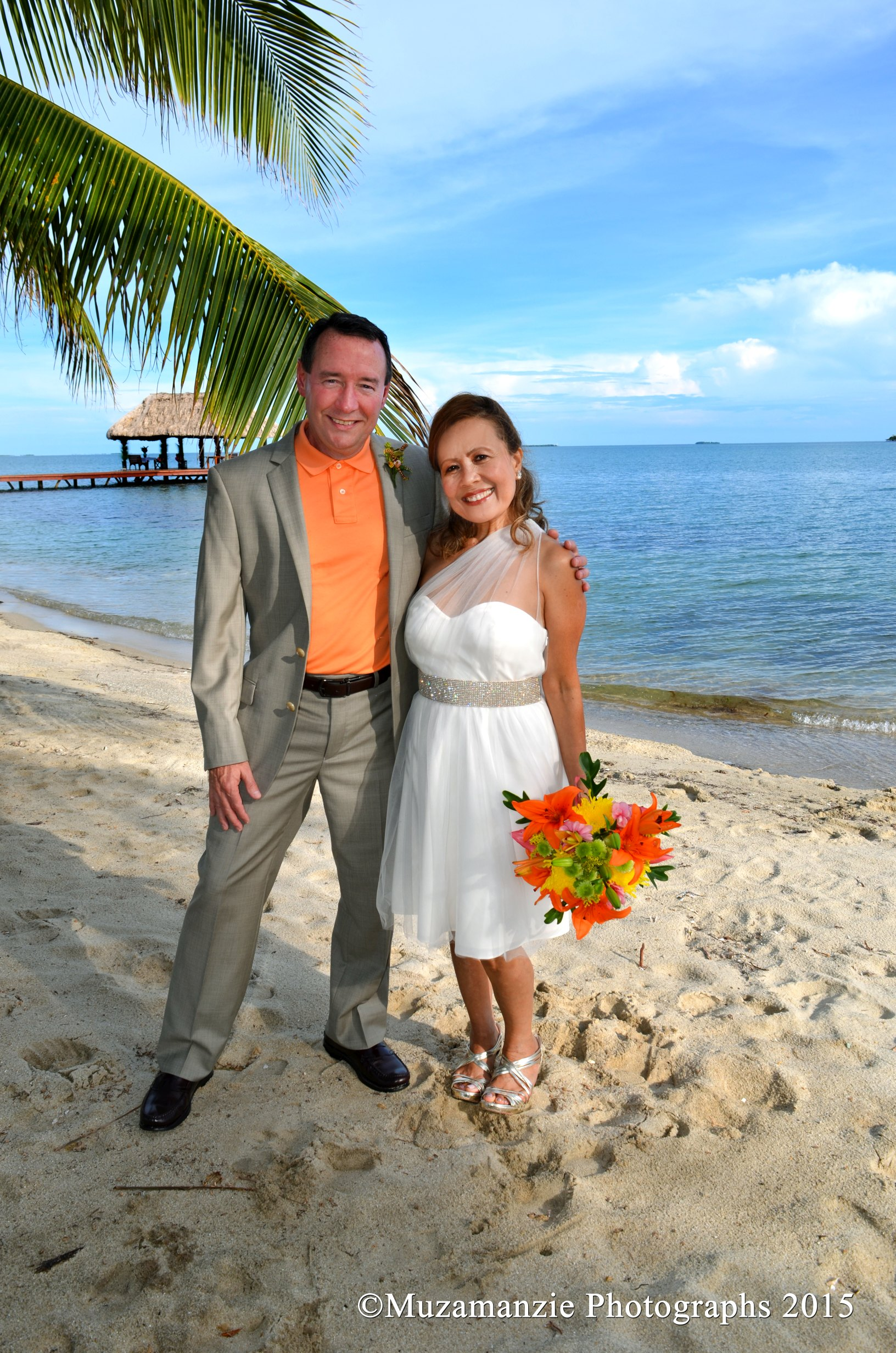 Beach Pose Taylor Wedding Chabil Mar Resort Belize