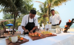 Chef Daniel and Donniz Prep for a Group Event - Chabil Mar Resort Belize